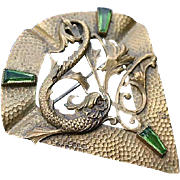 Bronze Brass Victorian Brooch Dolphin Foliate Motif Lovely