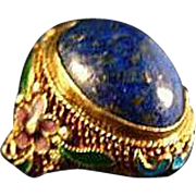 Chinese Export Silver Gold Gilded Lapis Lazuli 30's Ring