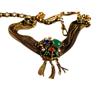 Vintage Germany Watch Fob Multi Stone Necklace