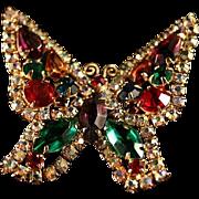 Lovely Signed Kramer Austrian Crystal Butterfly Brooch