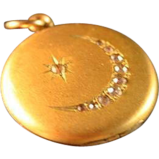 Victorian Signed Crescent Moon Paste Locket Dreamy