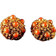 Elaborate Coral Chinese Export Cannetille 30's/40's Gold Gilt Earrings