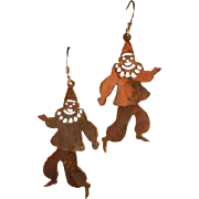 Bizarre Sterling Dancing Clown Earrings