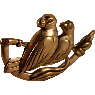 Sterling Coro Craft Parrot 40's Brooch Highly Collectable