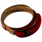 Victor Beck Navajo Coral Lapis Turquoise Sterling Channel Inlay Ring