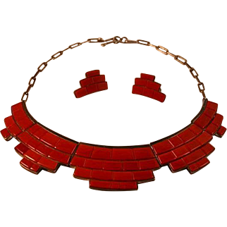 Masterpiece Coral Bricks Sterling Silver Christina Eustace Zuni Cochiti Necklace + Earrings