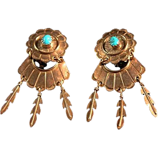 Native American 50's/60's Turquoise Sterling Silver Ear Clips Lovely