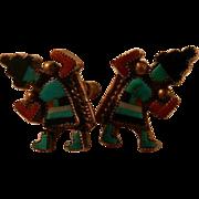 Fabulous Rainbow Man Native American Earrings 50's Sterling Silver