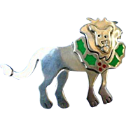 Ann Harvey Mexico Mexican Sterling Silver Enamel Big Cat Lion Brooch