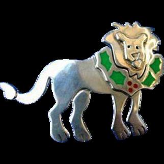Ann Harvey Mexico Mexican Sterling Silver Enamel Big Cat Lion Brooch