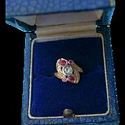 Art Deco 14K Gold Diamond Pink Corundum Ring