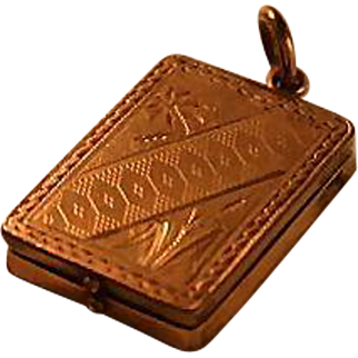 Victorian Locket Gold Filled Engraved Chased Travel