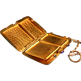 W & H Co. Heavy Gold Plate 1920's Ring Purse Vanity Size 7