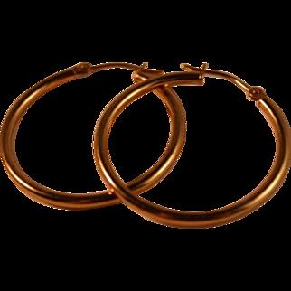 14K Gold Israel Hoop Earrings Perfect Size