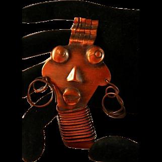 Rebajes Signed Ubangi Face Brooch Pin Fantastic