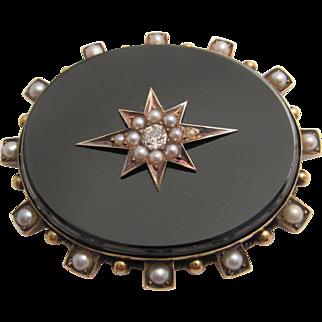 Truly Elegant Victorian Onyx, Pearl and Diamond Brooch Circa 1880