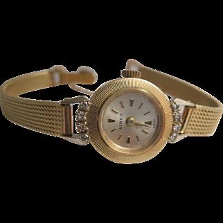 Vintage Birks/Omega 14K Gold and Diamond Wrist Watch