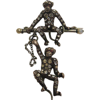 Amazing Silver and Paste Monkey Brooch