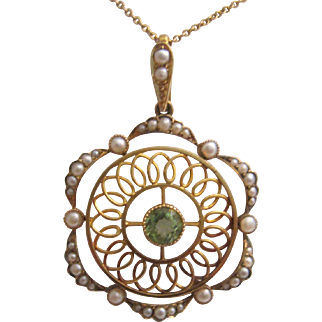 Superb Edwardian 15K Peridot and Pearl Pendant