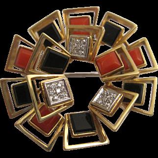 18K Gold, Onyx, Coral, Diamond Arte Moderne Brooch