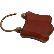 Sterling Silver and Carnelian Padlock-Charm Circa 1900