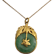 Handsome 22K Gold Jadeite Jade Pendant