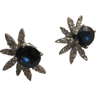 Glamorous Sapphire and Diamond Earrings