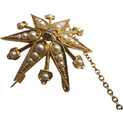 15K Diamond and Pearl Starburst Brooch