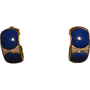 Spectacular 14K Lapis and Diamond Earrings