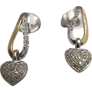 Sweet 14K White and Yellow Gold and Diamond Earrings