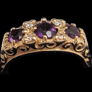 Pretty 14K Amethyst and Diamond Ring