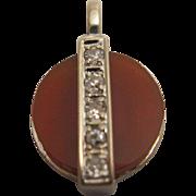 18K White Gold Carnelian and Diamond Pendant/Charm