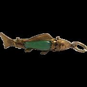 14K Jadeite Jade Fish Pendant