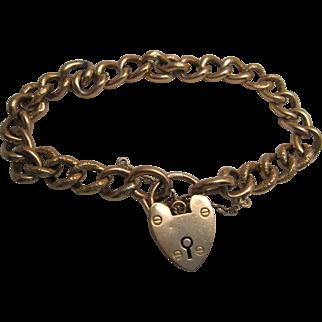 Lovely 9K Rose Gold Padlock Bracelet 1909