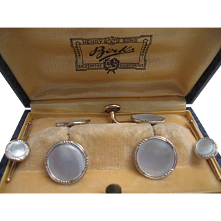 Handsome Birks Gold and Mother-of-Pearl Tuxedo Set
