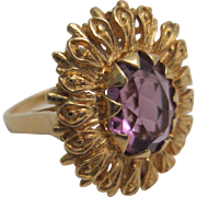 Intricate 14K Gold and Amethyst Ring
