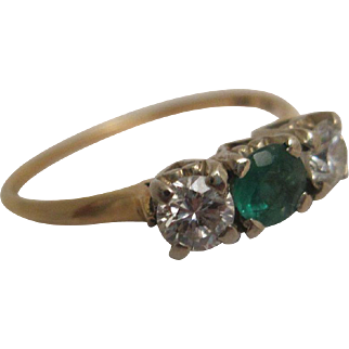 Estate Birks Three-Across Diamond and Emerald Ring