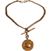 9K Rose Gold Watch Chain with 9K Fob