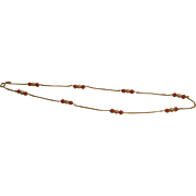18K Gold Italian Chain with Coral and Gold Stations