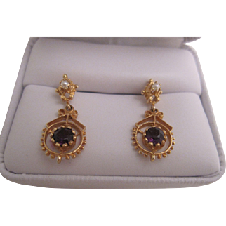 Delicate 14K Amethyst and Pearl Earrings