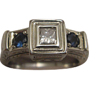 Big Bold 19K White Gold Diamond and Sapphire Ring