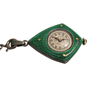 Swiss Sterling Silver Enamelled Pendant Watch
