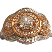 Gorgeous 18K White and Rose Gold Diamond Ring