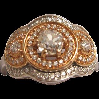 Gorgeous 18K White and Rose Gold Diamond Ring