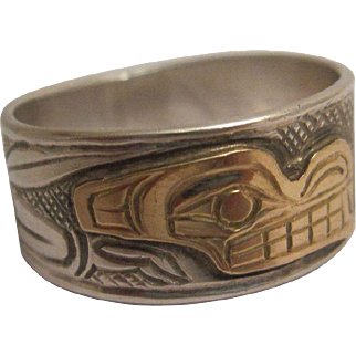 West Coast First Nations Sterling and 14K Gold Ring
