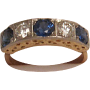 Fabulous 18K Sapphire and Diamond Five Across Ring