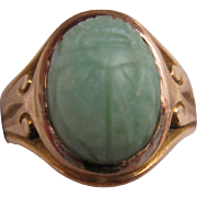 14K Gold and Jadeite Jade Scarab Ring