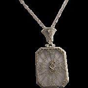 Pretty 14K Gold, Camphor Glass and Diamond Pendant