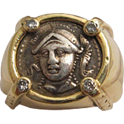 Handsome 18K Gold, Diamond and Ancient Greek Coin Ring
