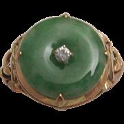 14k Gold, Jadeite Jade and Diamond Ring